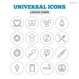 Universal icons. Quotes, ribbon heart and cake. Clover, mushroom and ice cream. Smoking, knife and fork. Round flat buttons with linear icons. Vector Royalty Free Stock Images