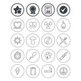 Universal icons. Quotes, ribbon heart and cake. Royalty Free Stock Photos