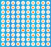 Universal icons round set. Universal icons set, orange image in white circle on blue background Stock Images