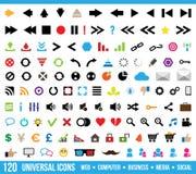 Universal icons set. 120 universal icons - web, business, social, media stock illustration