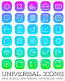 30 Universal Icons Set For All Purposes Web, Mobile, App Making,. Navigation, Print Stock Photo