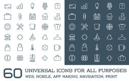 60 Universal Icons Set For All Purposes Web, Mobile, App Making, Royalty Free Stock Photos