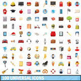 100 universal icons set, cartoon style. 100 universal icons set in cartoon style for any design vector illustration Stock Illustration