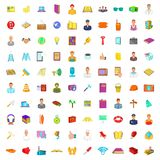 100 universal icons set, cartoon style. 100 universal icons set in cartoon style. Business set big collection illustration stock illustration