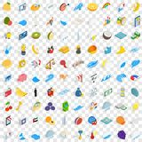 100 universal icons set, isometric 3d style Stock Photo
