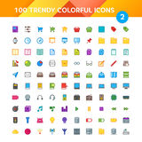 100 Universal Icons set 2. 100 Universal Icons in Material Design Color Palette set 2 Royalty Free Stock Photography