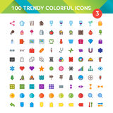 100 Universal Icons set 3. 100 Universal Icons in Material Design Color Palette set 3 Vector Illustration