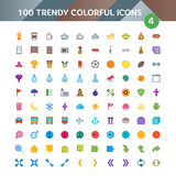 100 Universal Icons set 4. 100 Universal Icons in Material Design Color Palette set 4 Stock Images