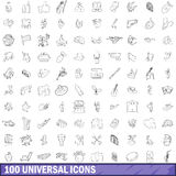 100 universal icons set, outline style. 100 universal icons set in outline style for any design vector illustration stock illustration