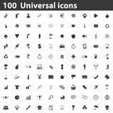 100 Universal icons set. Simple black images on white background stock illustration