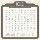 100 universal icons set Stock Photo