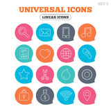 Universal icons. Smartphone, mail and music. Royalty Free Stock Image