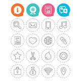 Universal icons. Smartphone, mail and music. Royalty Free Stock Photography