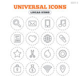 Universal icons. Smartphone, mail and music. Stock Photo