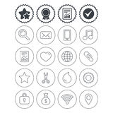 Universal icons. Smartphone, mail and music. Stock Photos
