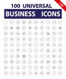 100 Universal Icons. 100 universal Business icons. Icon set for web and mobile application. Vector illustration on a white background. Line vector illustration