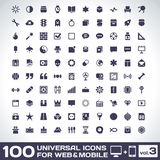 100 Universal Icons volume 3. 100 Universal Icons For Web and Mobile volume 3 Stock Image