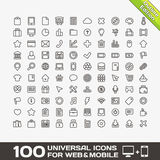 100 Universal Icons For Web and Mobile Stock Photo