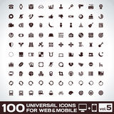 100 Universal Icons For Web and Mobile volume 5. 100 Universal Plain Icons For Web and Mobile volume 5 royalty free illustration