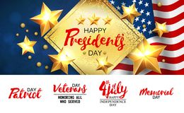 Universal illustration with a set of inscriptions for patriotic holidays in the USA. Presidents day, Independence day. Veterans day, Memorial day, 4 jule etc stock illustration