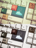 Universal internet symbol keyboard with vintage and grunge desig Royalty Free Stock Photos