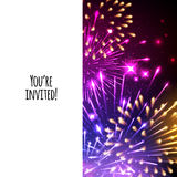 Universal invitation card template design. With fireworks background - wedding, birthday, party, celebration, carnival Stock Images