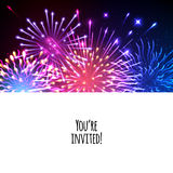 Universal invitation card template design. With fireworks background - wedding, birthday, party, celebration, carnival Royalty Free Stock Images