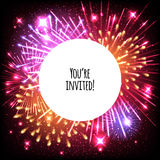 Universal invitation card template design. With fireworks and round frame background - wedding, birthday, party, celebration, carnival Royalty Free Stock Images