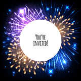 Universal invitation card template design. With fireworks and round frame background - wedding, birthday, party, celebration, carnival Royalty Free Stock Photo
