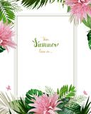 Universal invitation, congratulation card with green tropical palm, monstera leaves and Aechmea blooming flowers on the Stock Photos