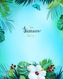 Universal invitation, congratulation card with green tropical palm, monstera leaves and hibiscus blooming flower on the vector illustration