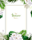 Universal invitation, congratulation card with green tropical palm, monstera leaves and magnolia blooming flowers on the Stock Image
