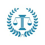 Law office logo. The judge, Law firm logo template, lawyer set of vintage labels. Universal legal, lawyer, scales creative premium symbol,Symbol of law and Stock Photo