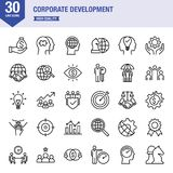 Corporate Development Line Icon Set. Universal line icons about business life Royalty Free Stock Photo