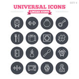 Universal linear icons set. Thin outline signs. Universal linear icons set. Fitness dumbbell, home key and candle. Toilet paper, knife and fork. Microwave oven Royalty Free Stock Photo