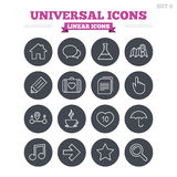 Universal linear icons set. Thin outline signs Stock Image