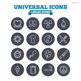 Universal linear icons set. Thin outline signs Royalty Free Stock Photo