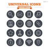 Universal linear icons set. Thin outline signs. Universal linear icons set. Smartphone, mail and musical note. Heart, globe and share symbols. Paperclip Stock Images