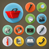 Universal, long shadow icons Stock Images