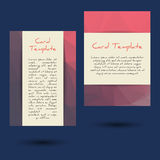 Universal Low Poly Card Templates. Set of two low poly universal card template designs, perfect for brochure covers, leaflets, flyers, cards and invitations royalty free illustration