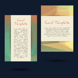 Universal Low Poly Card Templates Royalty Free Stock Photography