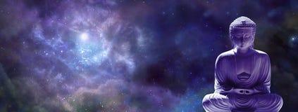 Universal Meditating Buddha web banner Royalty Free Stock Image