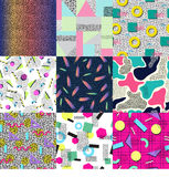 Universal memphis 80-90 seamless pattern endless abstract textures geometric ornament background vector illustration. Stock Photo