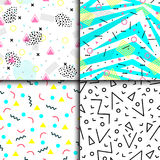 Universal memphis 80-90 seamless pattern endless abstract textures geometric ornament background vector illustration. Creative textured backdrop graphic Stock Image