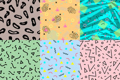 Universal memphis 80-90 seamless pattern endless abstract textures geometric ornament background vector illustration. Creative textured backdrop graphic vector illustration