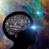 Universal Mind. Brain lit up with stars Stock Images