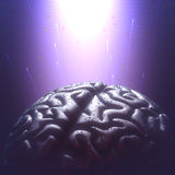 Universal Mind. Metal brain with rain droplets in a dark environment. Copy space and clipping path included Stock Image
