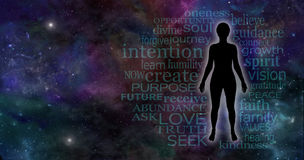 Universal Mindfulness Meditation. Wide deep space background with a female silhouette on right hand side surrounded by a mindfulness word cloud and plenty of royalty free stock photo