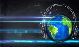 Universal Music Blackboard Background. Digital Drawing Royalty Free Stock Photography