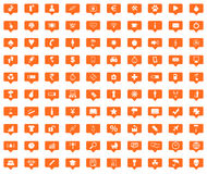 Universal orange message icons set. Images in filled chat bubbles on white background Royalty Free Stock Photos